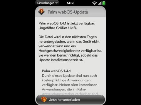 Hinweis für das erneute Update auf WebOS 1.4.1