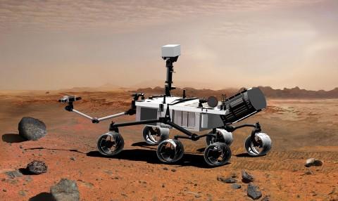 So stellt sich ein Künstler den Rover Curiosity vor. (Bild: Nasa)