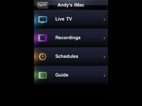 Elgato EyeTV iPhone App - Menü
