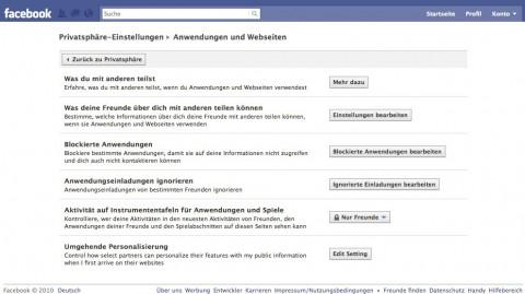 Facebook - bei den Privatsphäre-Einstellungen für 'Anwendungen und Webseiten' finden sich die Einstellungen für 'Umgehende Personalisierung'.