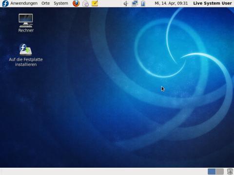 Der Desktop der aktuellen Version von Fedora 13, hier die Gnome-Live-CD