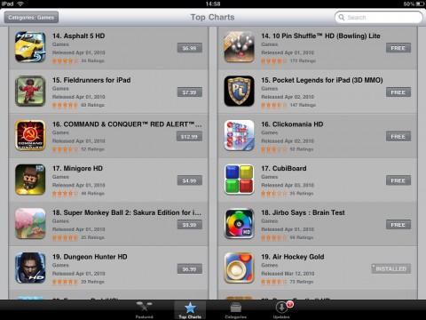 App Store: Spieleangebot