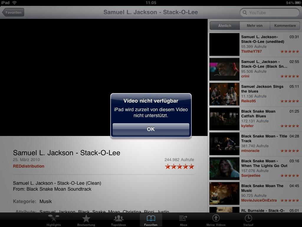 Test: iPad - beeindruckend, aber nicht magisch - Nicht jedes Video ist schon umcodiert.