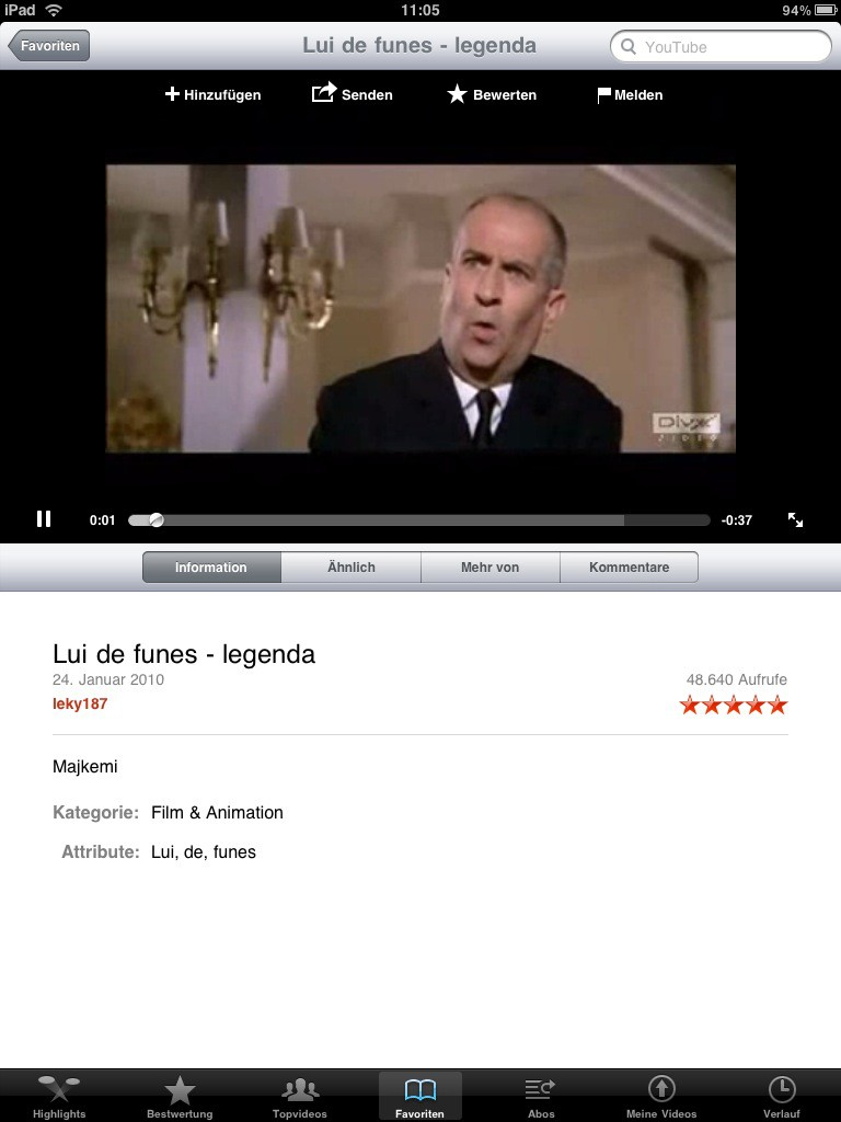 Test: iPad - beeindruckend, aber nicht magisch - Youtube im Hochformat, das Video wird eingebettet abgespielt.