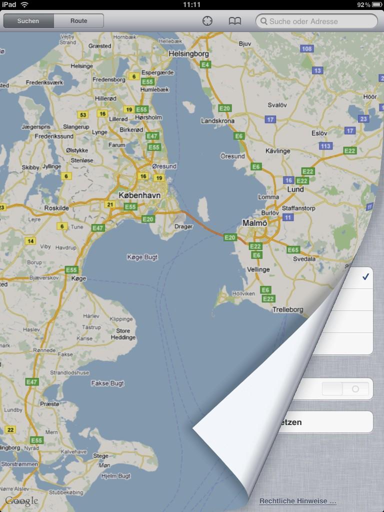 Test: iPad - beeindruckend, aber nicht magisch - Unter der Karte sind Einstellungen verborgen.