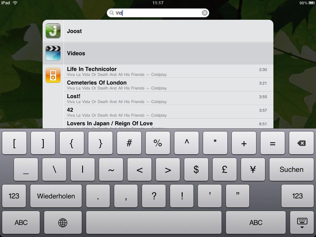 Test: iPad - beeindruckend, aber nicht magisch - Tastatur des iPads (weitere Symbole)