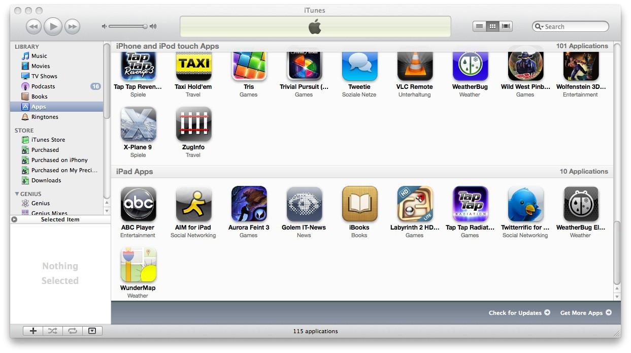 Test: iPad - beeindruckend, aber nicht magisch - Auf dem Rechner: In iTunes werden die Apps sortiert.