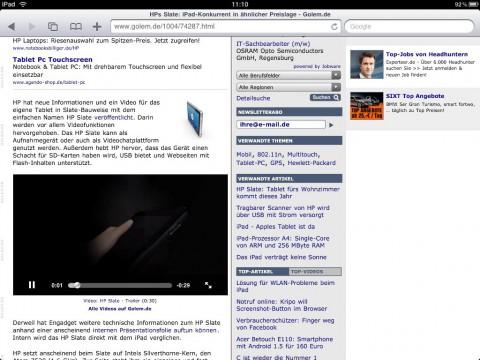 Das iPad kann keine Flash-Videos abspielen. Das muss nicht stören, wenn sich Webdesigner anpassen. Videos können trotzdem eingebettet ...