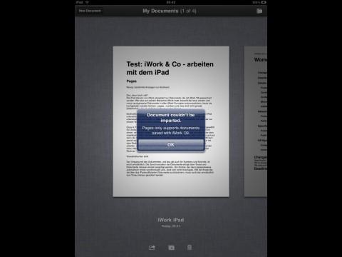 Pages: Alte iWork-Dokumente mag das iPad nicht. Pages ist noch nicht lokalisiert worden, funktioniert aber mit deutscher Rechtschreibkontrolle des iPads.