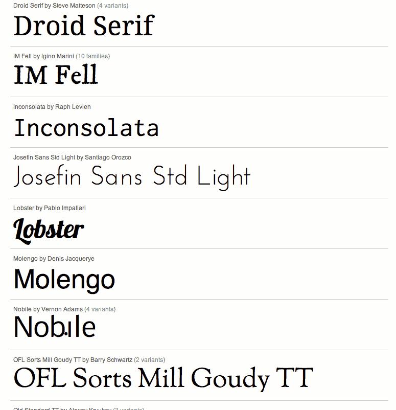 Google: Mehr Schriften fürs Web - Google Font Directory