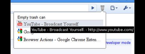 Chrome-Erweiterung Trash Can