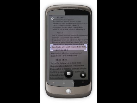 Google Goggles 1.1 - Auswahl des zu übersetzenden Textes ...