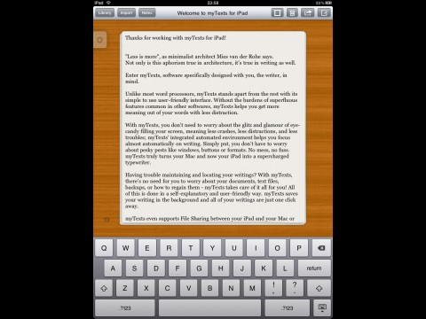 myTexts fürs iPad