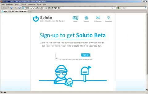 Soluto - Downloadseite am Mittwoch Nachmittag