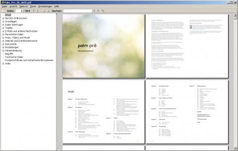 Sumatra PDF 1.1 - Doppelseitenansicht mit eingeblendeten Lesezeichen