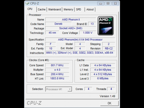 CPU-Z zeigt die Taktsenkung auf 800 MHz an.