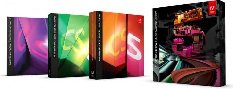 Vier der fünf CS5-Softwarepakete von Adobe