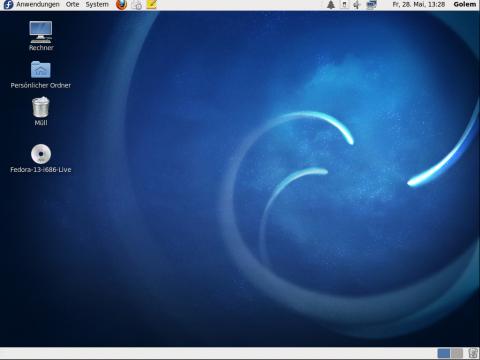 Der Desktop von Fedora 13