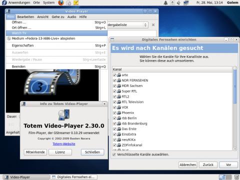 Der Totem-Media-Player kommt auch mit DVB-Geräten klar.
