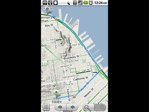 Google Maps auf dem Android-Smartphone zeigt Radwege und wenig befahrene Straßen. (Quelle: Google)