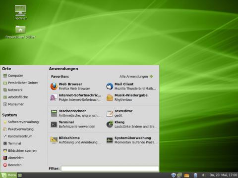 Linux Mint bringt ein eigenes Startmenü mit.
