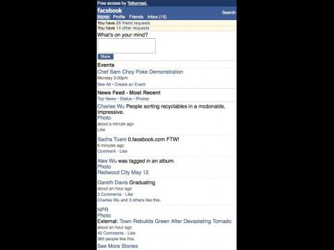 0.facebook.com - auf wenig Datenvolumen getrimmte, mobile Facebook-Webseite zum kostenlosen Zugriff
