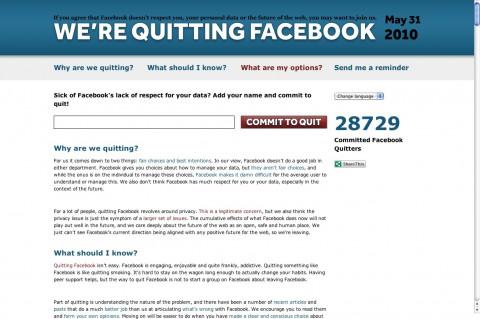 QuitFacebookDay.com - am 31. Mai 2010 wollen enttäuschte Nutzer Facebook verlassen. (Screenshot von 18 Uhr)