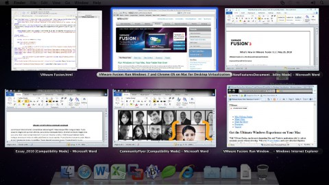 VMware Fusion 3.1 - Unity unterstützt nun überlappende Fenster in Exposé