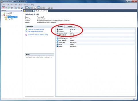 VMware Workstation 7.1 - Virtual Machine (VM) mit 8 CPUs und 2 TByte virtuellem Plattenplatz