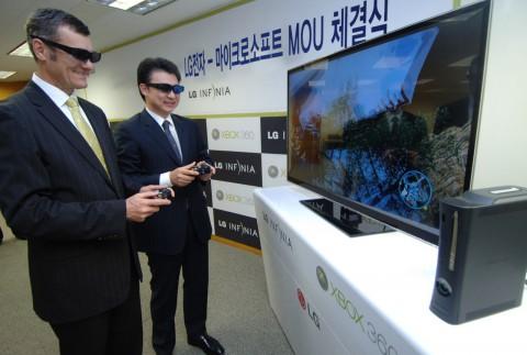 LG und Microsoft zeigen 3D-Fernseher mit stereoskopischen Xbox-360-Spielen.