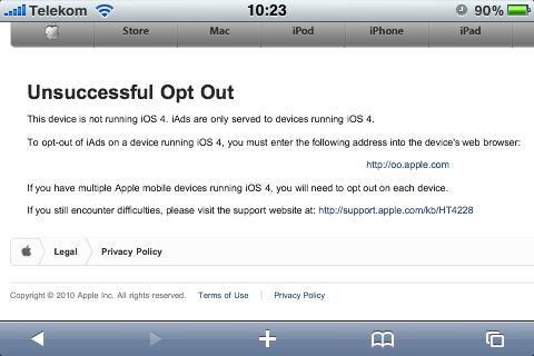 Funktioniert derzeit noch nicht: Apples iAd-Opt-Out-Interessierte sollen die Seite in einigen Stunden  noch einmal aufsuchen.
