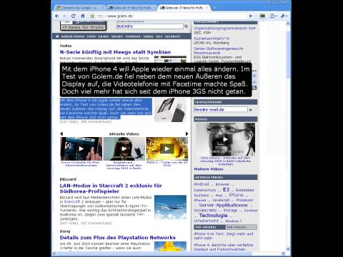 Chromevis - Textvergrößerung