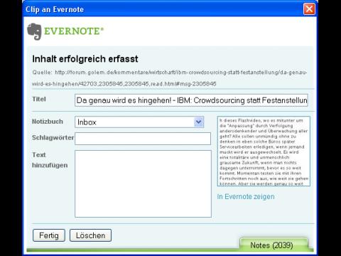 Notizzettel: Evernotes Firefox-Erweiterung wird erwachsen