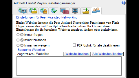 Adobe Flash Player Einstellungsmanager: Einstellungen für Peer-Assisted-Networking