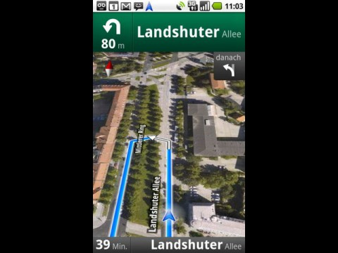 Google Maps Navigation mit Satellitenbildern