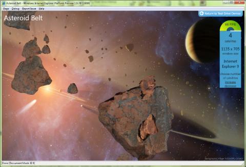IE9 unterstützt Cavas, hier in der Demo Asteroid Belt.