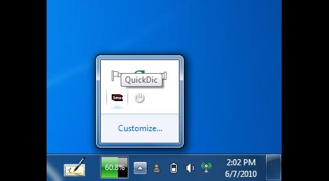 Unauffällig: QuickDic versteckt sich in der Tray Notification Area.
