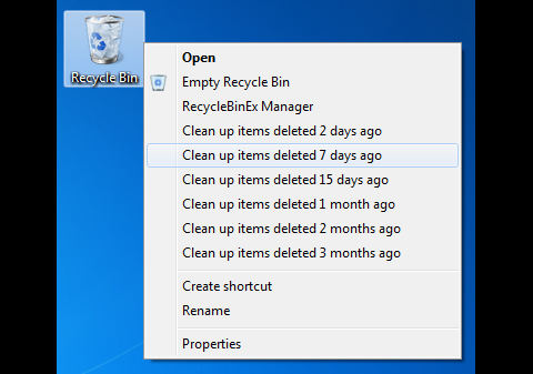 RecycleBinEx - Löschen von Inhalten nach Fristen im Kontextmenü
