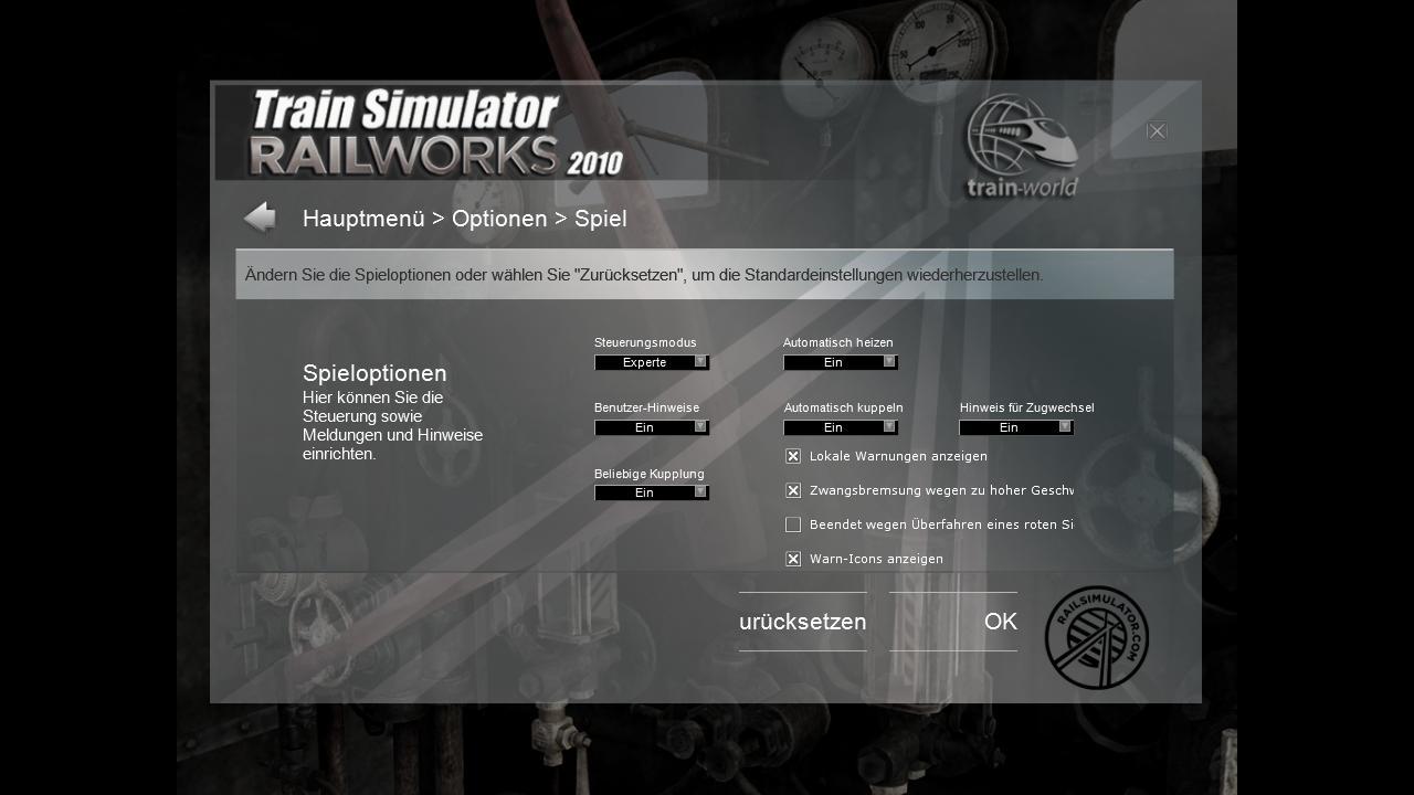 Spieletest Train Simulator 2010: Schöne Landschaften im Zugsimulator - Spieleinstellungen ...