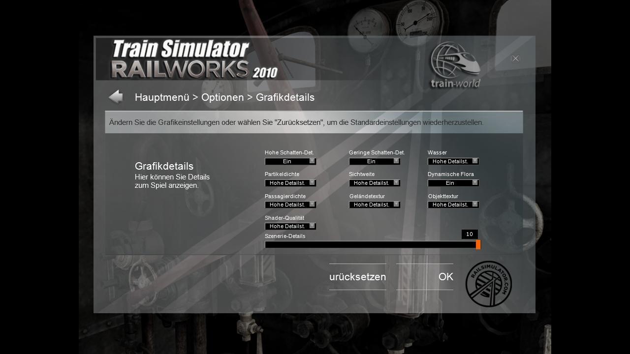 Spieletest Train Simulator 2010: Schöne Landschaften im Zugsimulator - ... und Grafikeinstellungen