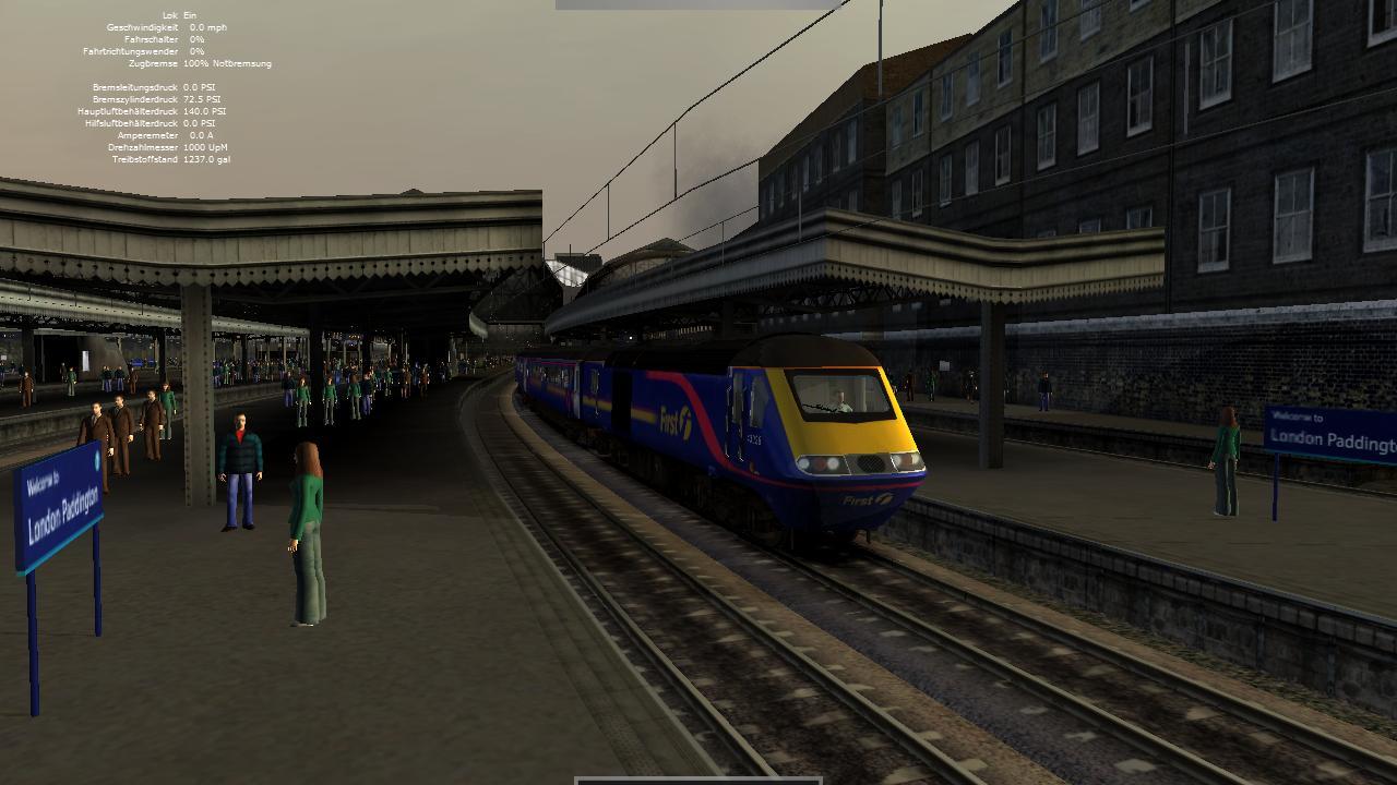 Spieletest Train Simulator 2010: Schöne Landschaften im Zugsimulator - Abfahrt in Paddington mit einem Dieselzug ...