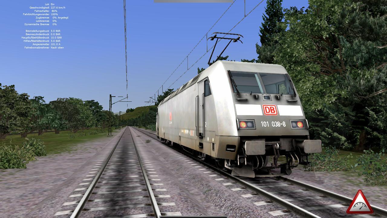 Spieletest Train Simulator 2010: Schöne Landschaften im Zugsimulator - Fast 230 km/h. Die Zwangsbremsung bleibt aus, obwohl dies in den Optionen aktiviert wurde.