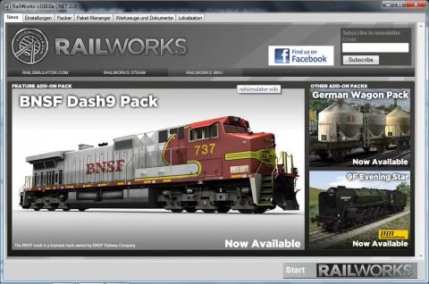 Railworks ist ein Steam-Spiel. Die Startoberfläche wird nicht geladen, wenn keine Admin-Rechte vorhanden sind.