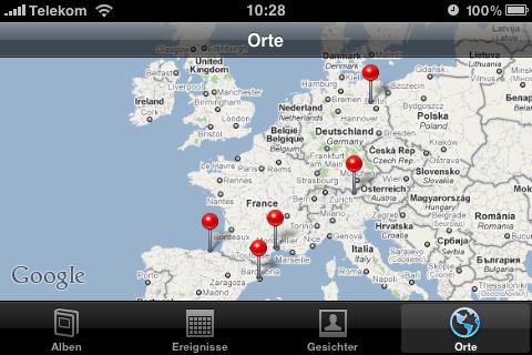 Die Fotogalerie kann jetzt Bilder anhand einer Karte anzeigen lassen, ...