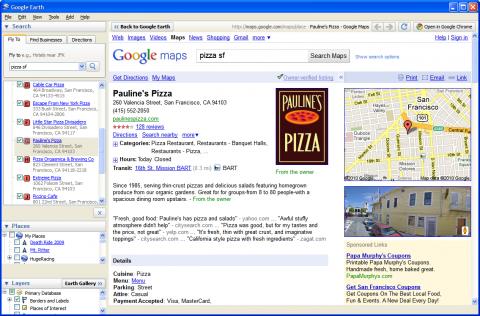 Mit dem integrierten Browser kann der Nutzer Google-Places-Links aufrufen, ohne Google Earth zu verlassen. (Screenshot: Google)