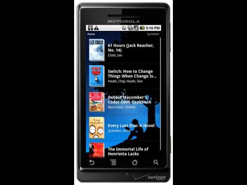 Kindle for Android auf einem Motorola Droid