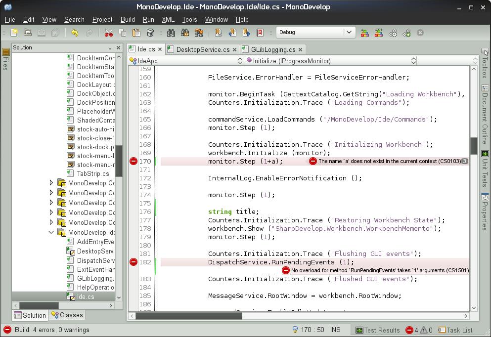 Monodevelop: Version 2.4 mit verbessertem Layout - Die Monodevelop IDE in Version 2.4