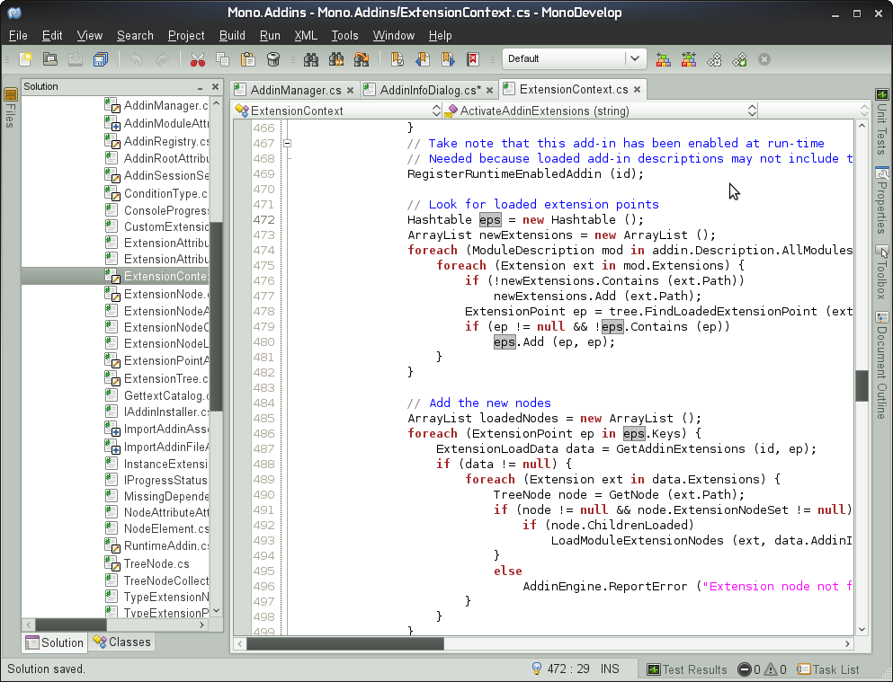 Monodevelop: Version 2.4 mit verbessertem Layout - Die Monodevelop IDE in Version 2.4