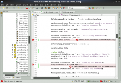 Die Monodevelop IDE in Version 2.4