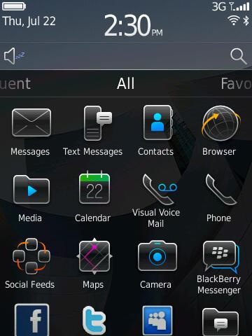 Blackberry 6: Neuer Startbildschirm bringt mehr Komfort - Blackberry 6 - Startbildschirm mit allen Applikationen